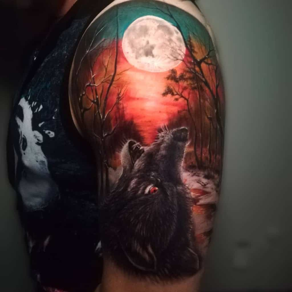 Colored Forest Sleeve Tattoos forsetatts