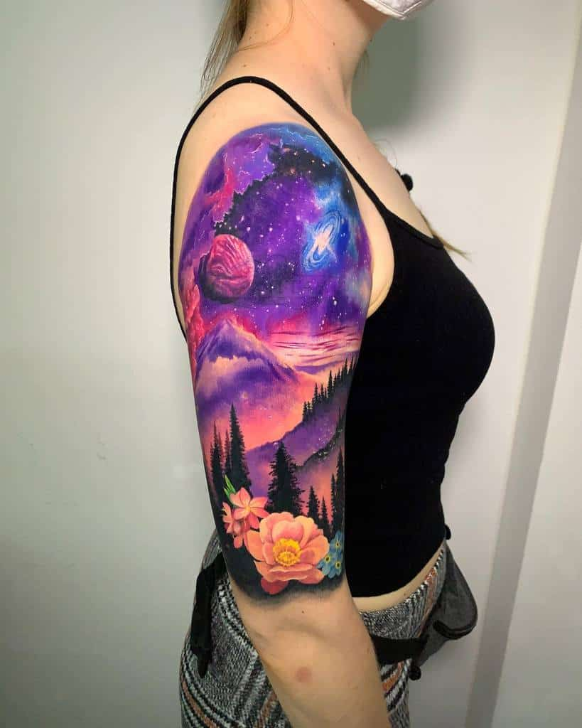 Colored Forest Sleeve Tattoos lcf.tattoos