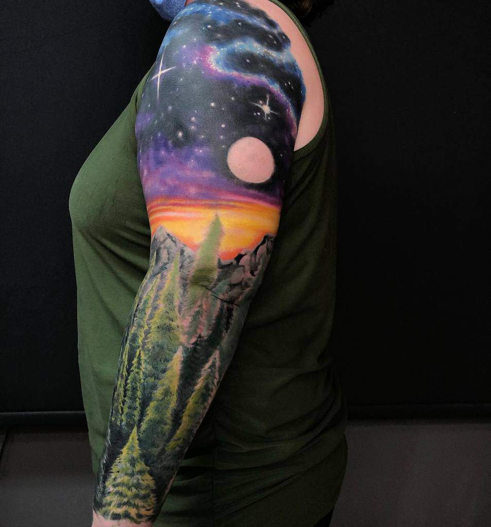 Colored Forest Sleeve Tattoos nextlevelstudio