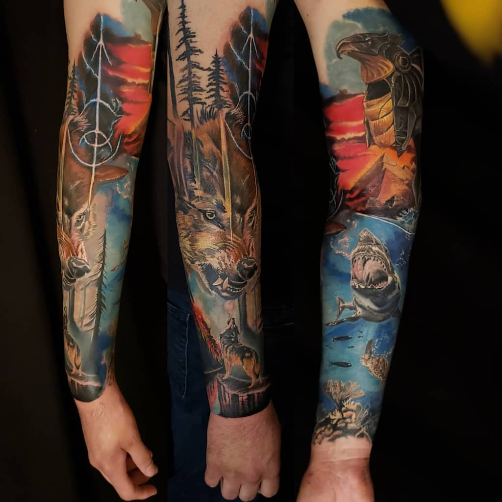 Colored Forest Sleeve Tattoos paunanicastillo