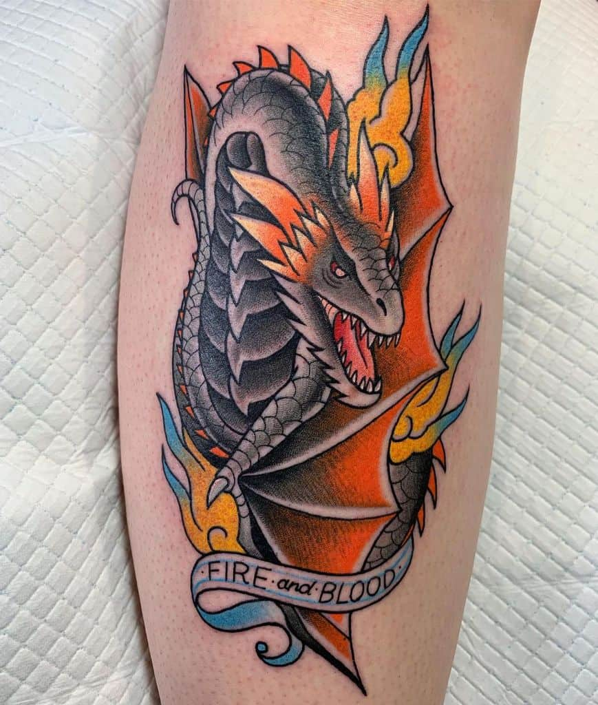Colored Game of Thrones Dragon Tattoo amandabrookstattoo