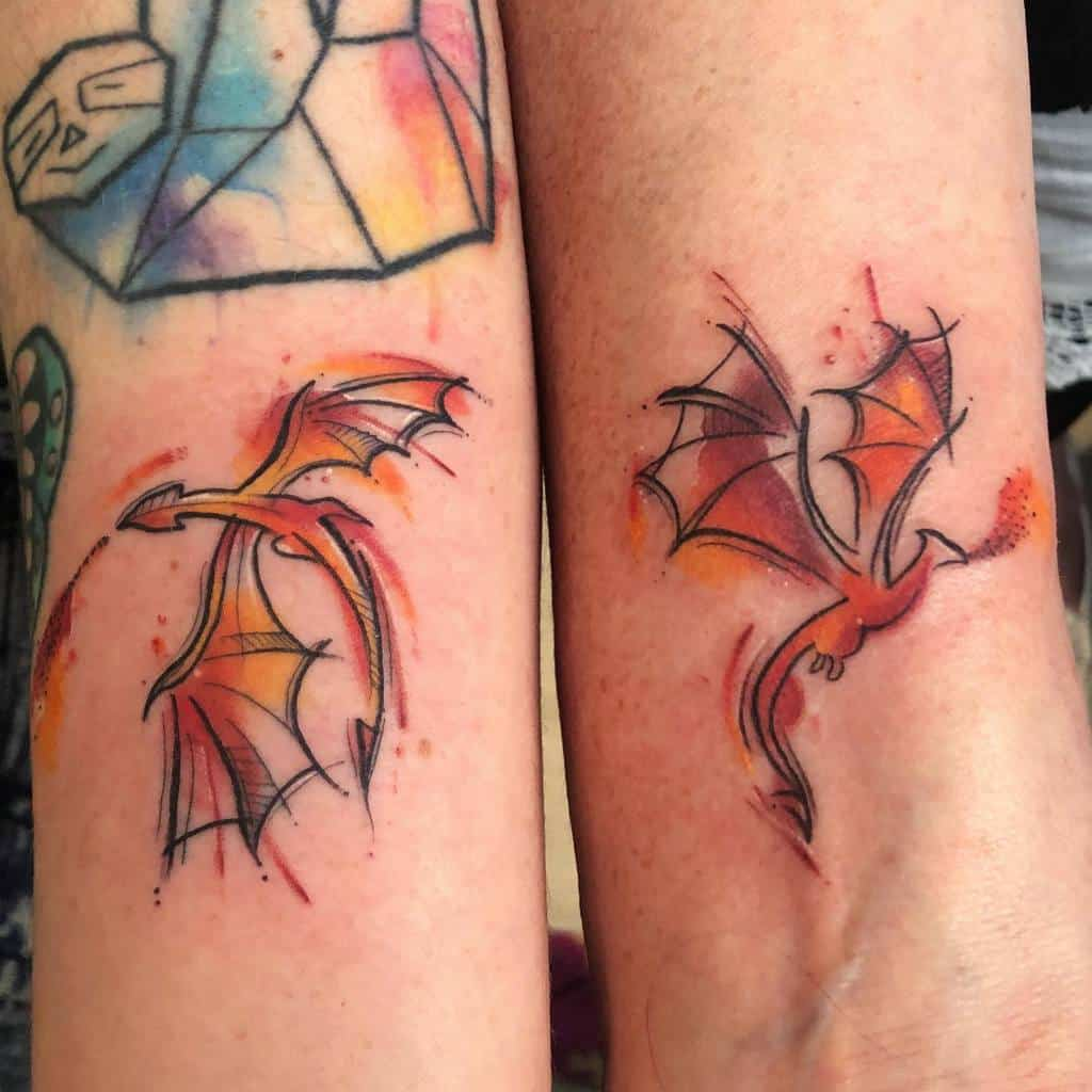 Colored Game of Thrones Dragon Tattoo becky_tattoo