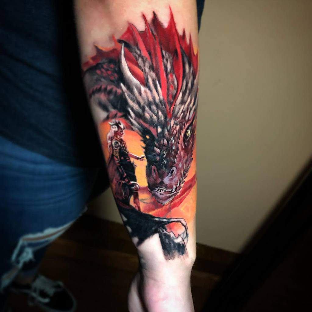 Colored Game of Thrones Dragon Tattoo breandanangley
