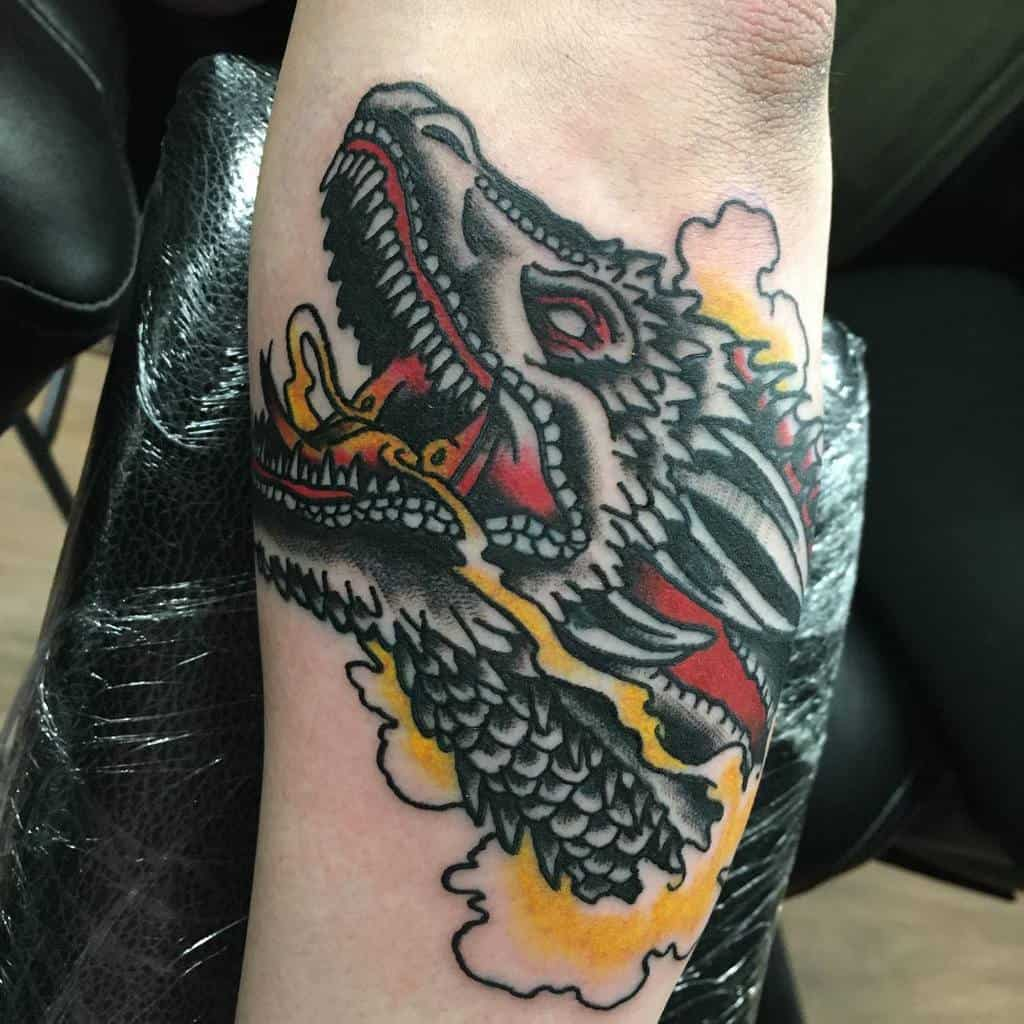Colored Game of Thrones Dragon Tattoo tom.brydon.tattoo