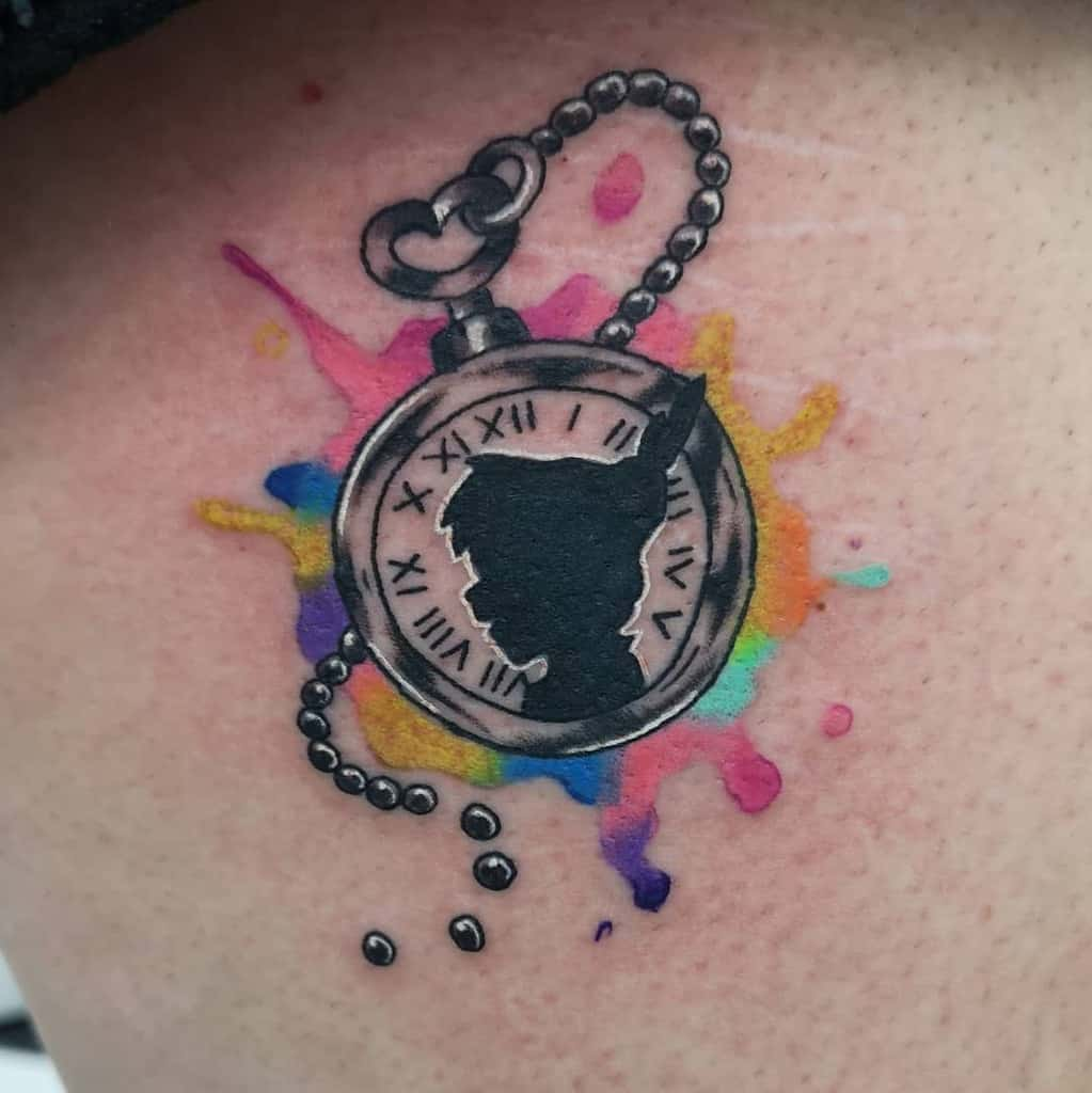 Colored Watercolor Peter Pan Tattoo Martyntaylortattoos