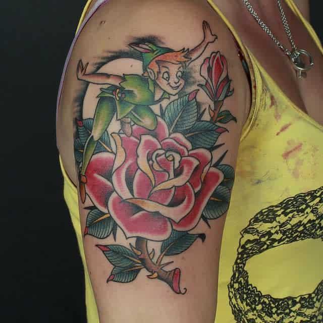 Colored Watercolor Peter Pan Tattoo Rocklandtattoos