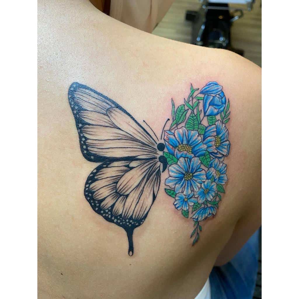 Coloured Semicolon Butterfly Tattoo healthyytayyyy