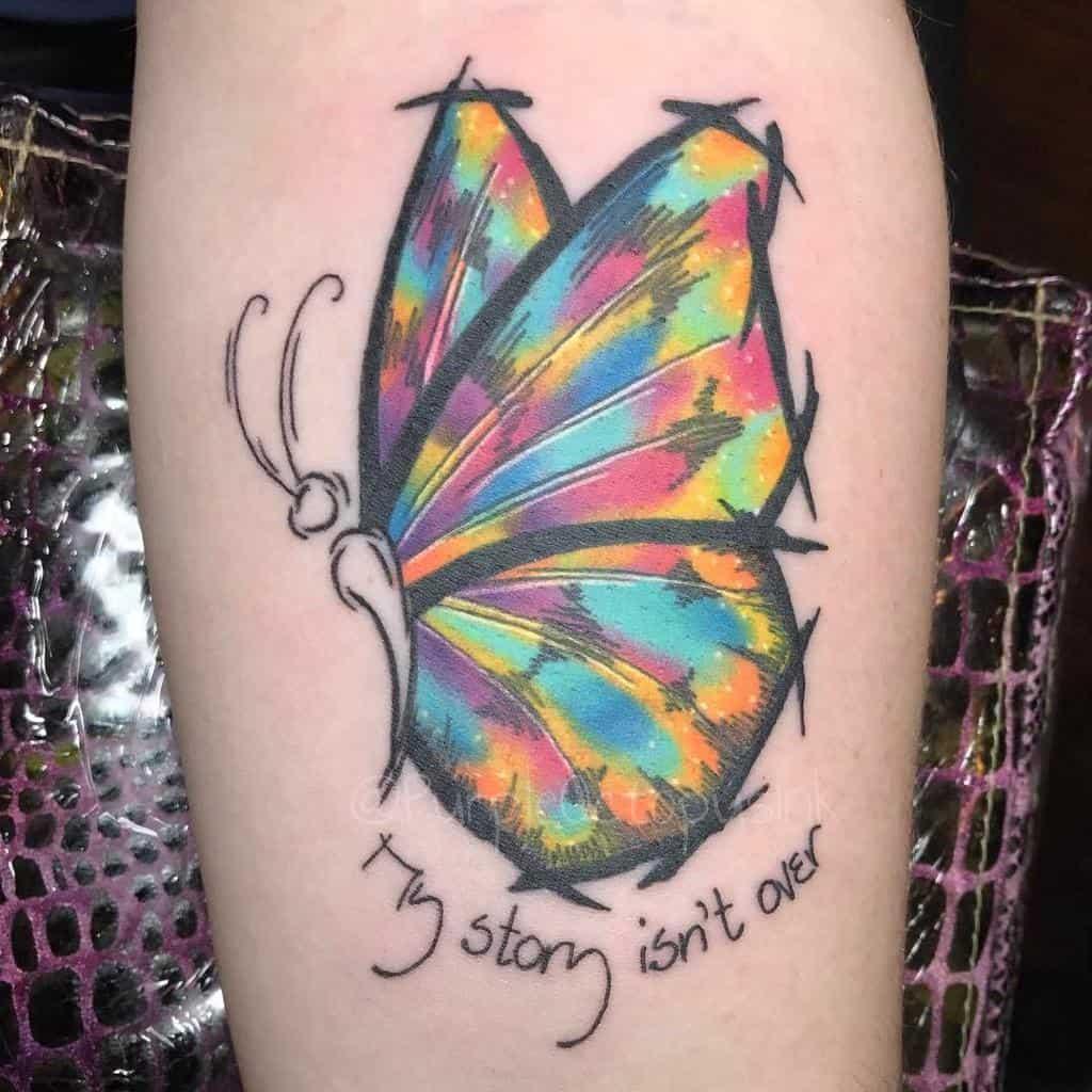 Coloured Semicolon Butterfly Tattoo purpleoctopusink