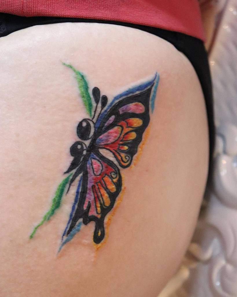 Coloured Semicolon Butterfly Tattoo queenofheartstattooswangaratta