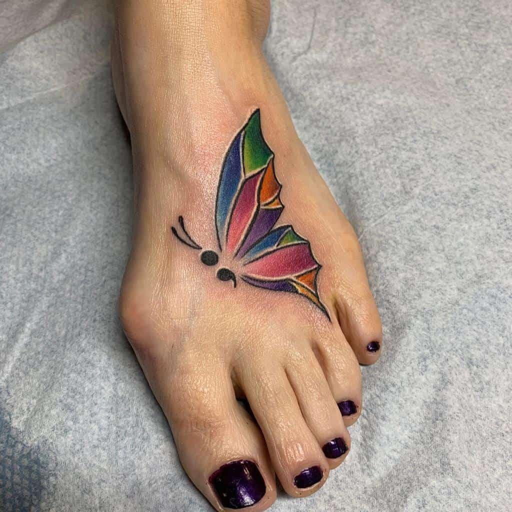 Coloured Semicolon Butterfly Tattoo robbieripoll