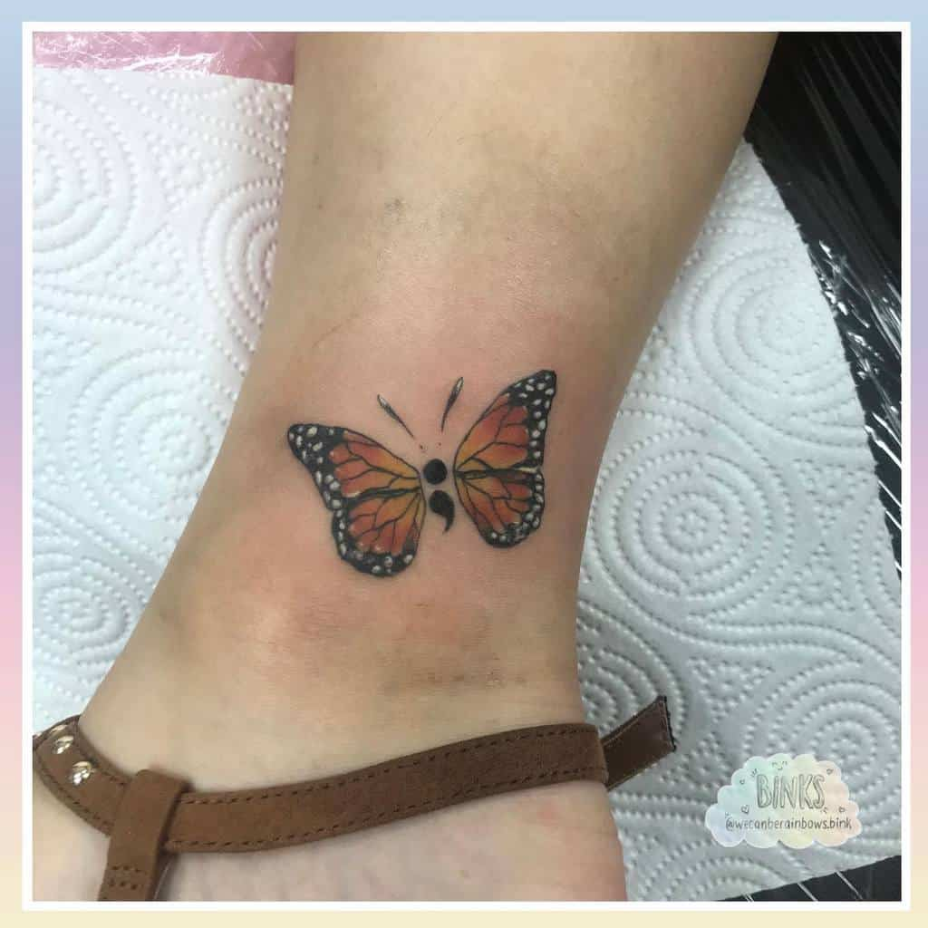 Coloured Semicolon Butterfly Tattoo wecanberainbows.bink