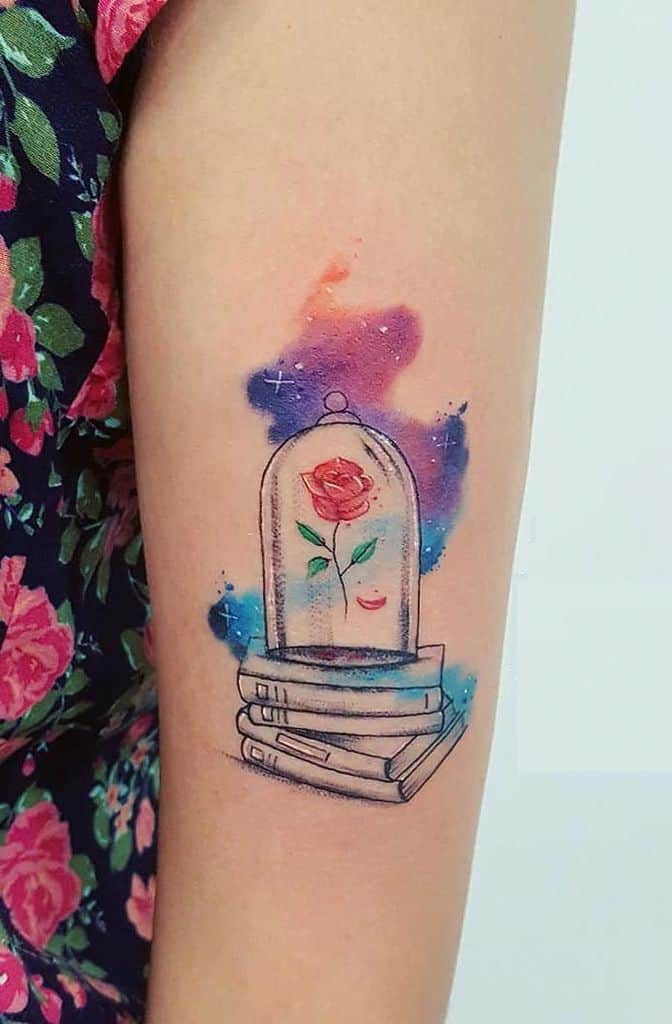 Constellation Enchanted Rose And Beauty And The Beast Tattoo