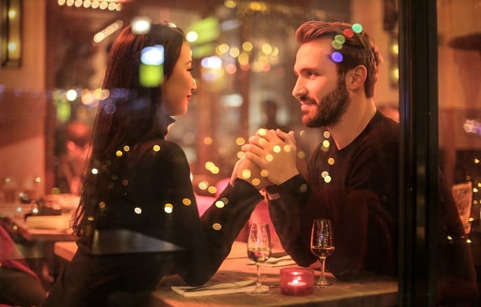 Couple On A Date In Restaurant