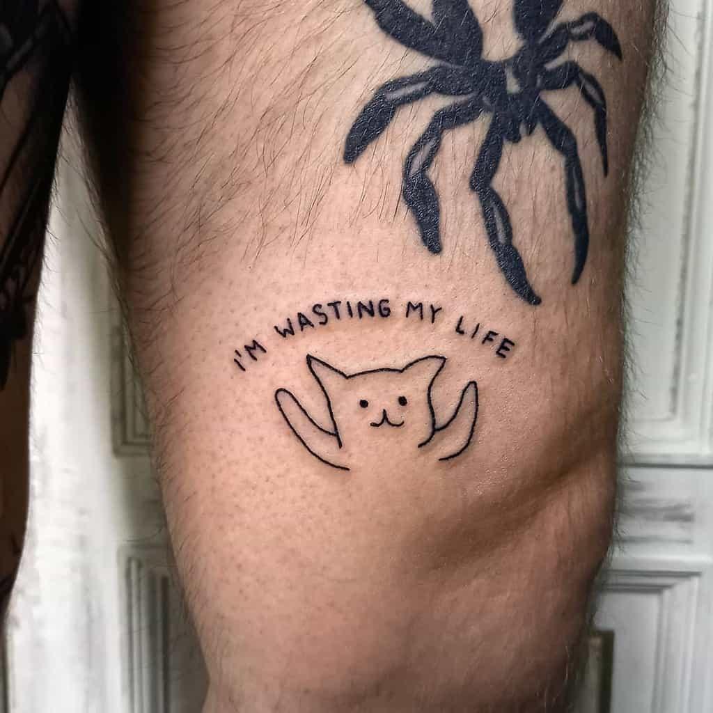Cute Cat Outline Tattoo lipnetattoo