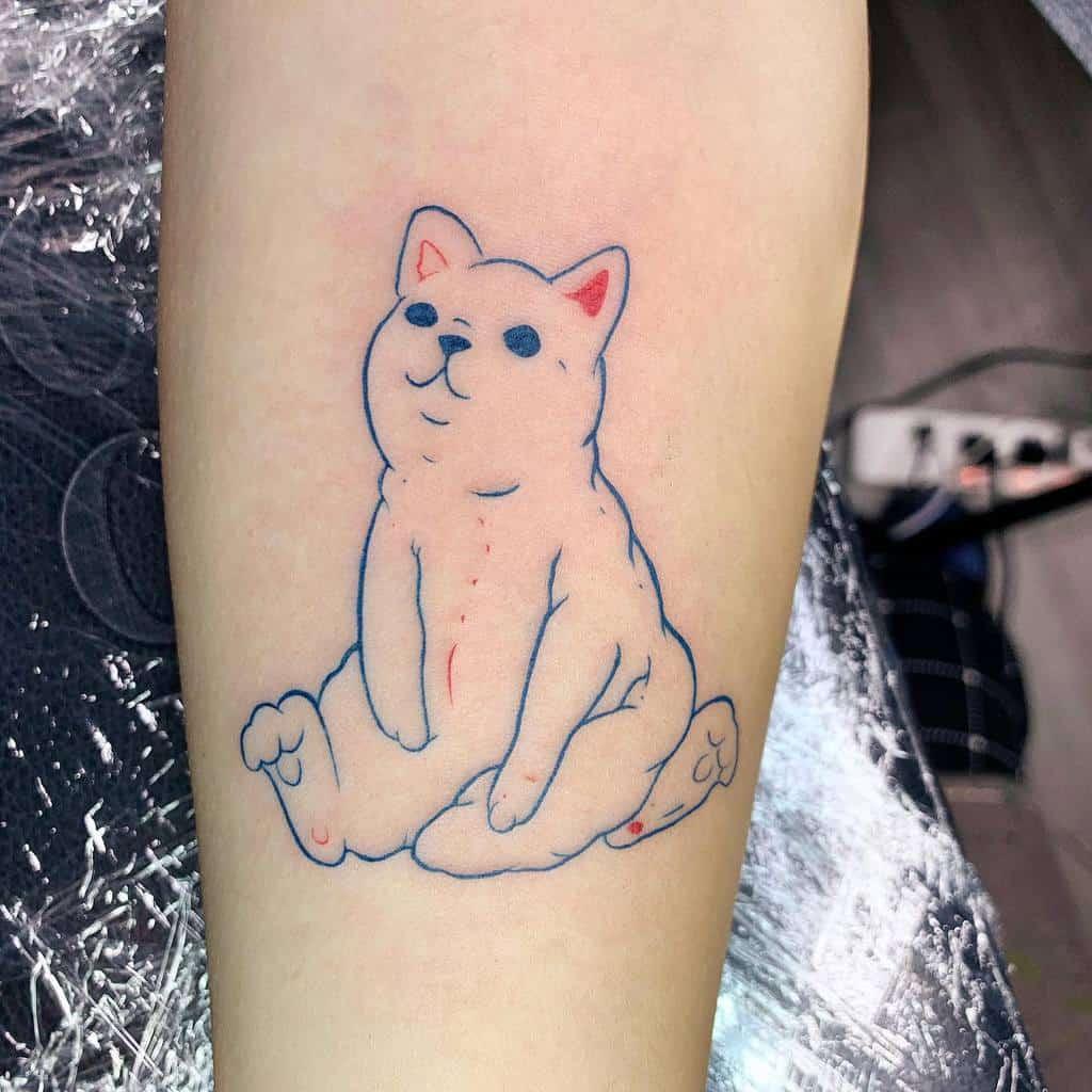 Cute Cat Outline Tattoo sunning7.artist