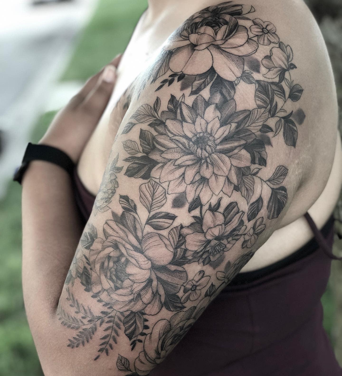 Botanical Dahlia Tattoo -breckmarquette
