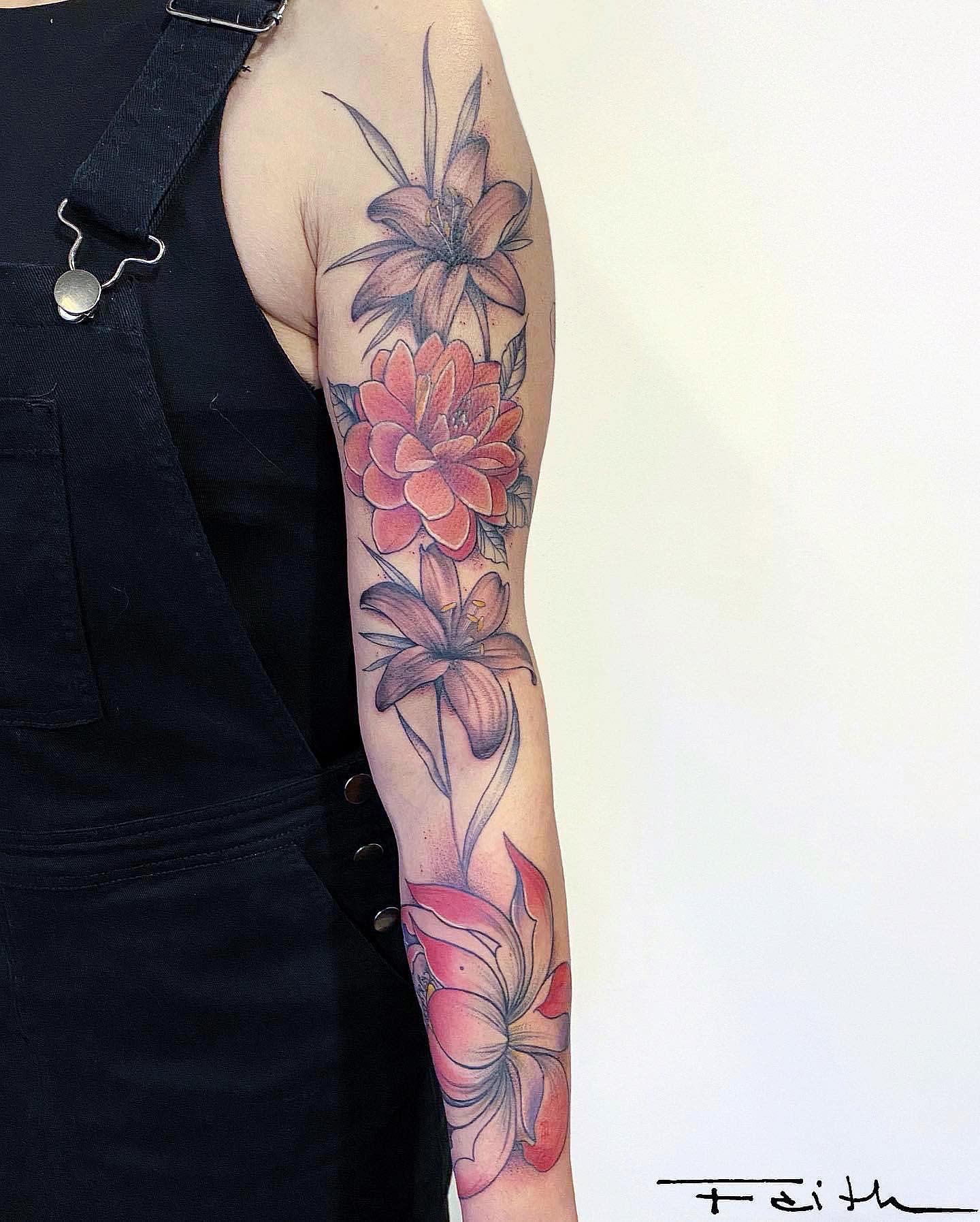 Botanical Dahlia Tattoo -faith.tattoo