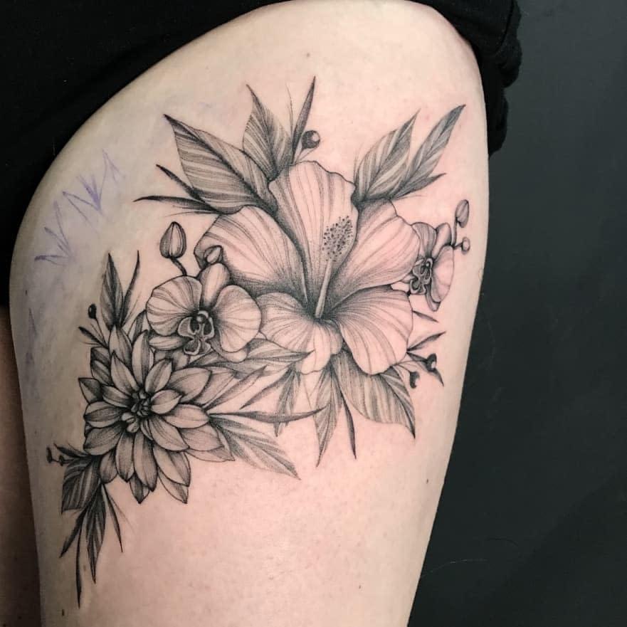 Botanical Dahlia Tattoo -mafval07