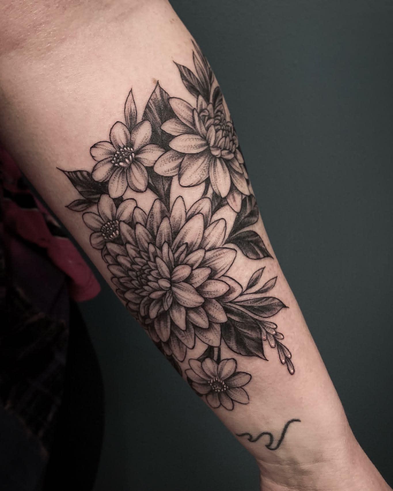 Dahlia Forearm Tattoo -kayseeshuster