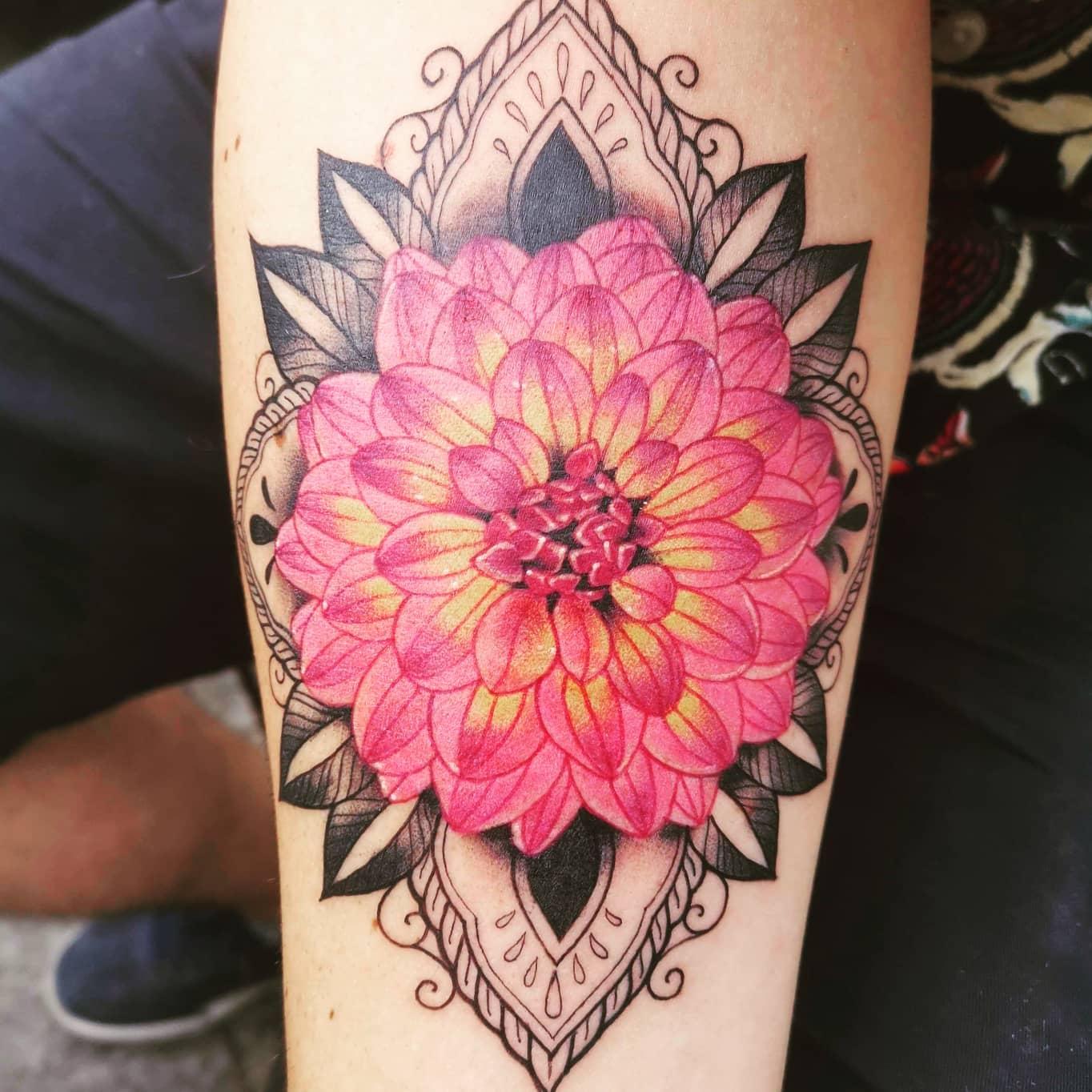 Pink Dahlia Tattoo -flipthompson94