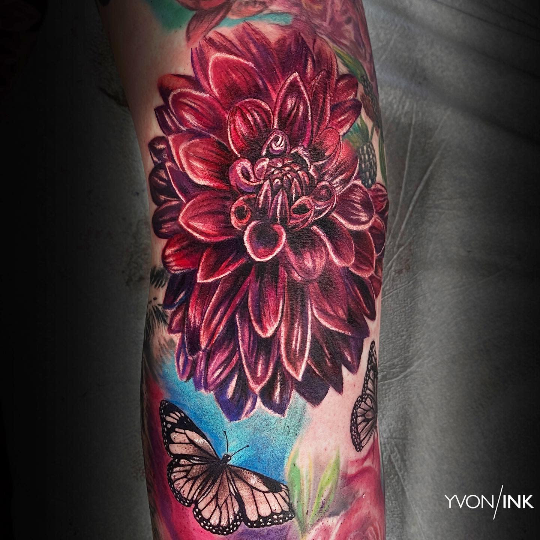 Red Dahlia Tattoo -yvon_ink
