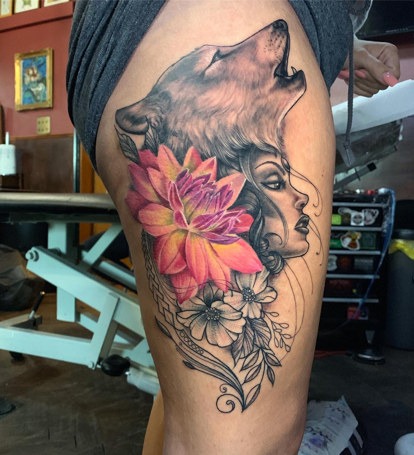Dahlia Thigh Tattoo -yatesytel
