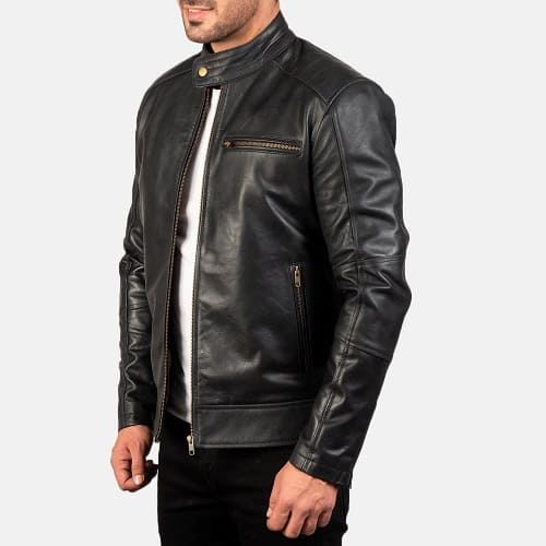 Dean Black Leather Biker Jacket