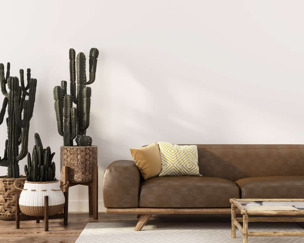Boho-style,Interior,With,Stylish,Leather,Sofa,,Rattan,Table,And,Wicker