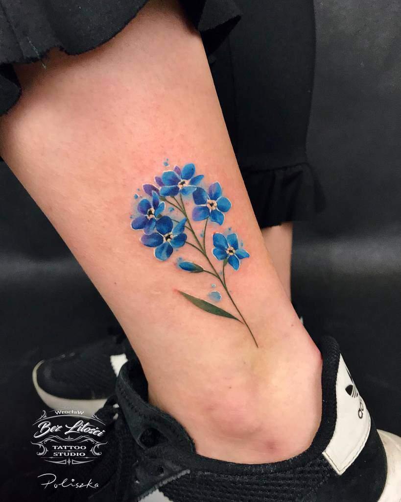 Delicate Flower Ankle Tattoos poliszka_tattoo