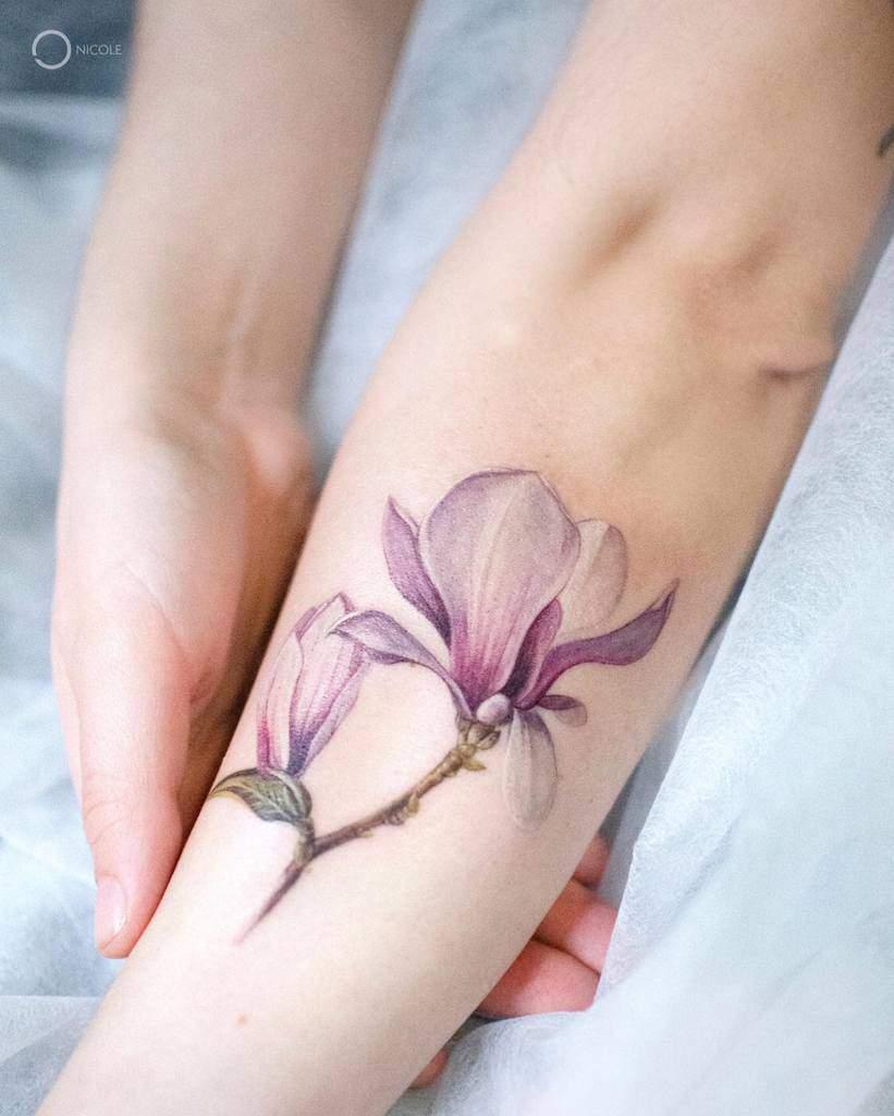 Delicate Flower Forearm Tattoos nicole_inkart