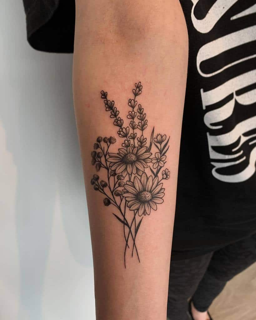 Delicate Flower Forearm Tattoos rissa_tattoos