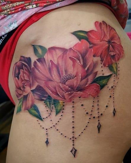 Delicate Flower Hip Tattoos caja_negra_