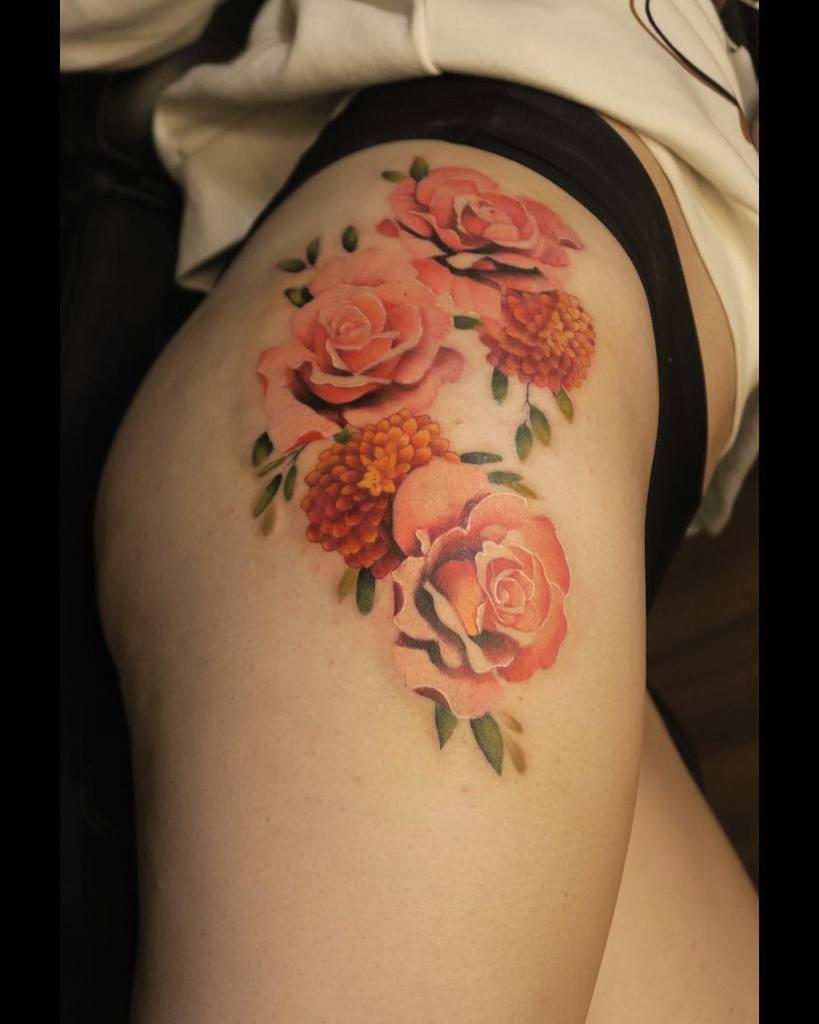 Delicate Flower Hip Tattoos jonpall_art
