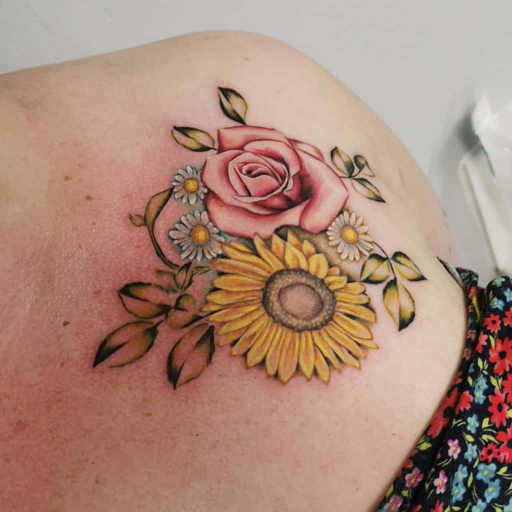 Delicate Flower Shoulder Tattoos beccehtattoo