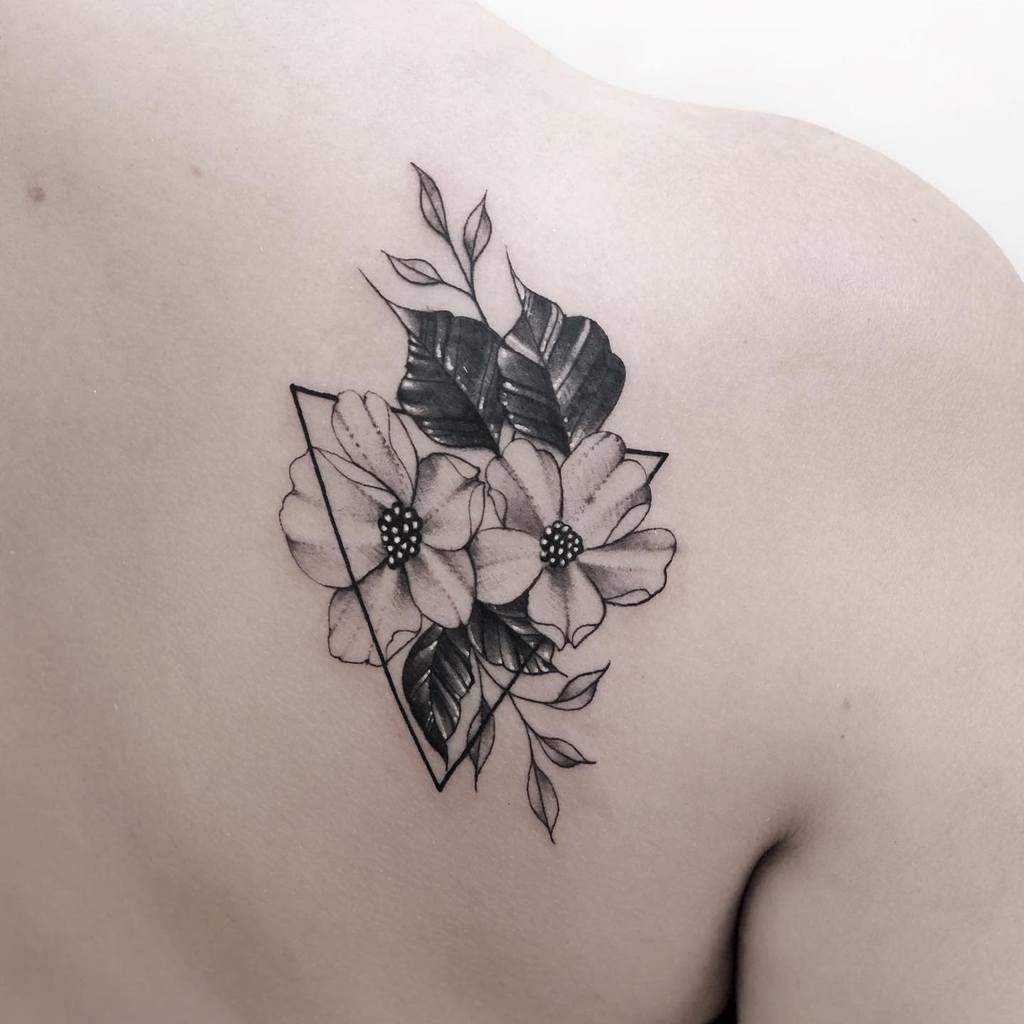 Delicate Flower Shoulder Tattoos konxatattoo