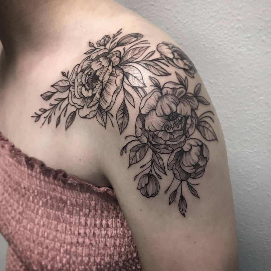 Delicate Flower Shoulder Tattoos melissa_daye