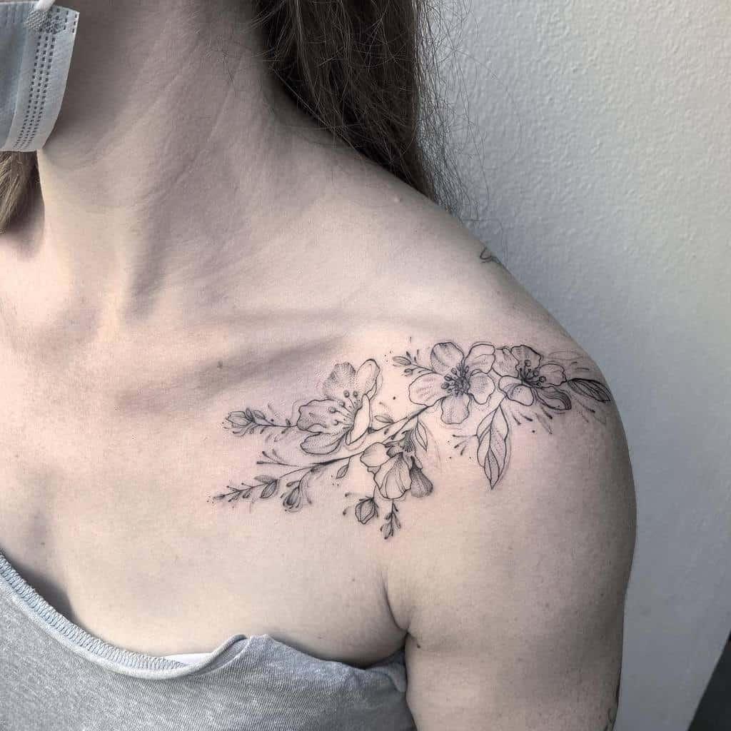 Delicate Flower Shoulder Tattoos sionagrether