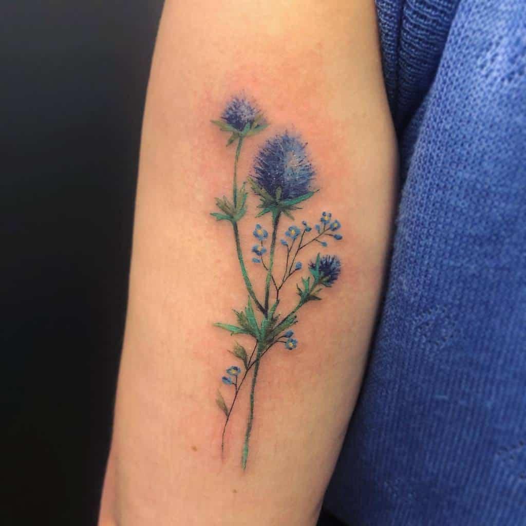 Delicate Flower Upperarm Tattoos lorianemauer.tattooist