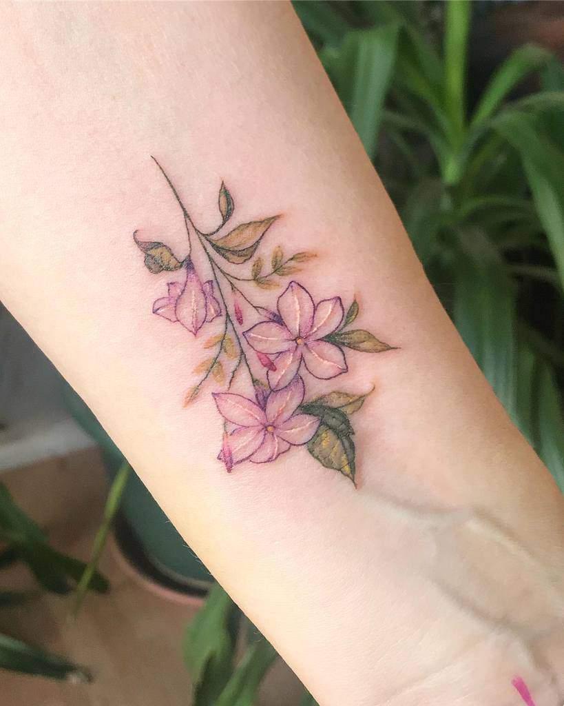 Delicate Flower Wrist Tattoos ashleytysontattoo