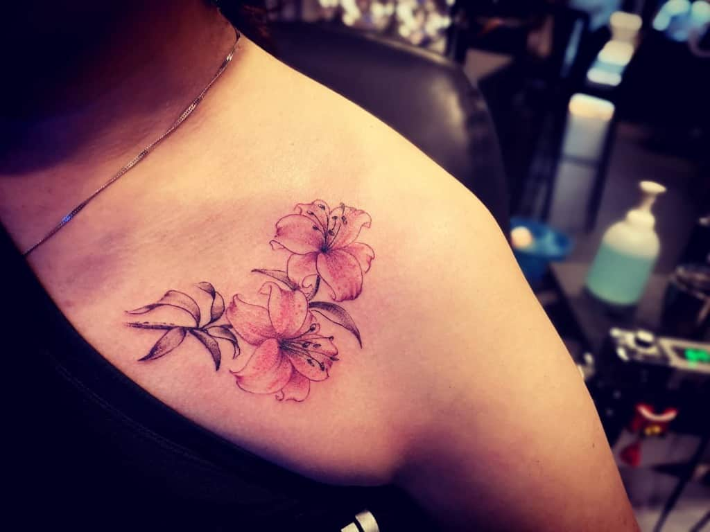 Delicate Lily Tattoo Huanglintattoo