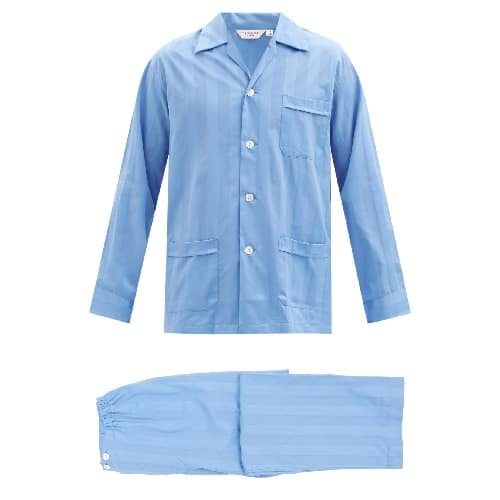 Derek-Rose-Lingfield-Jacquard-stripe-Cotton-Pajamas