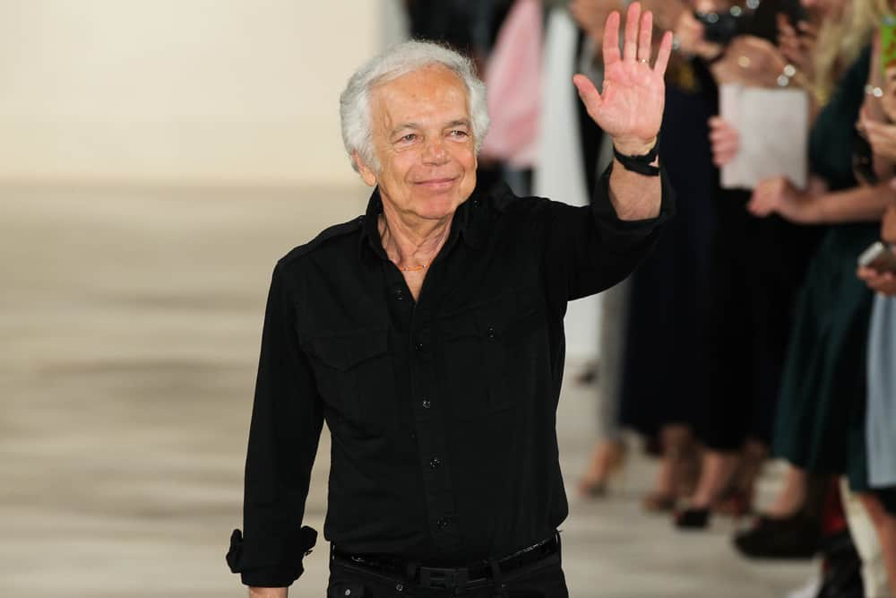 Designer Ralph Lauren greets the audience during Mercedes Benz Fashion Week