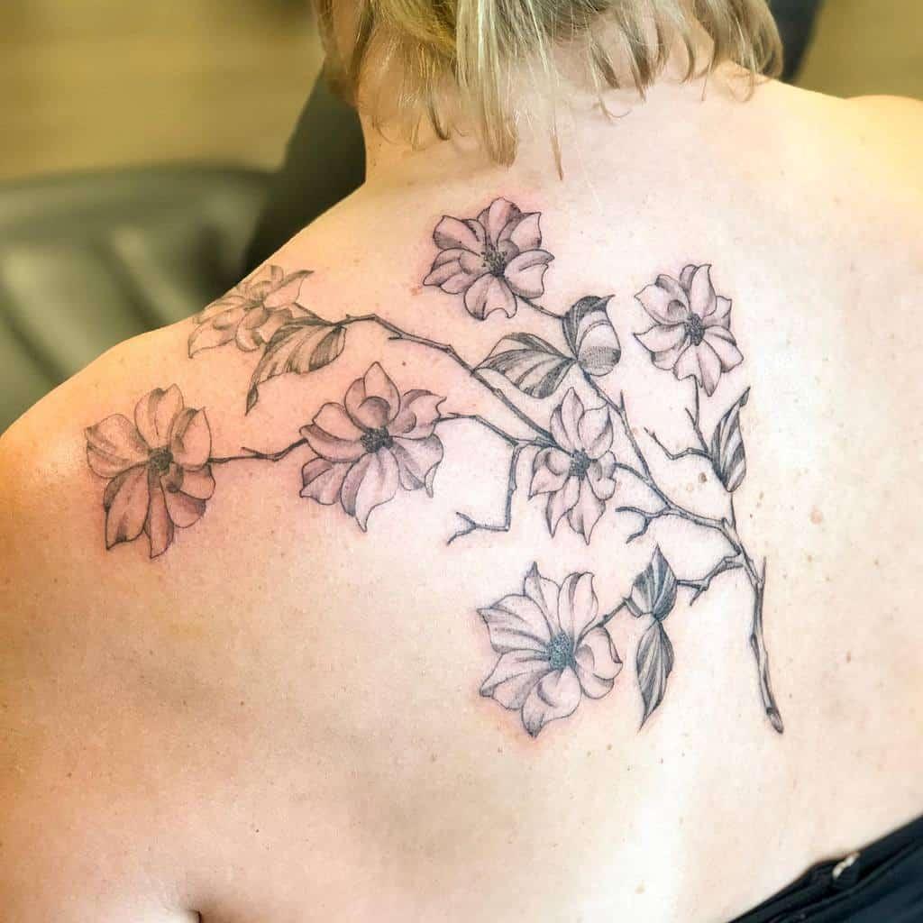 Dogwood Flower Back Tattoo raetattoo
