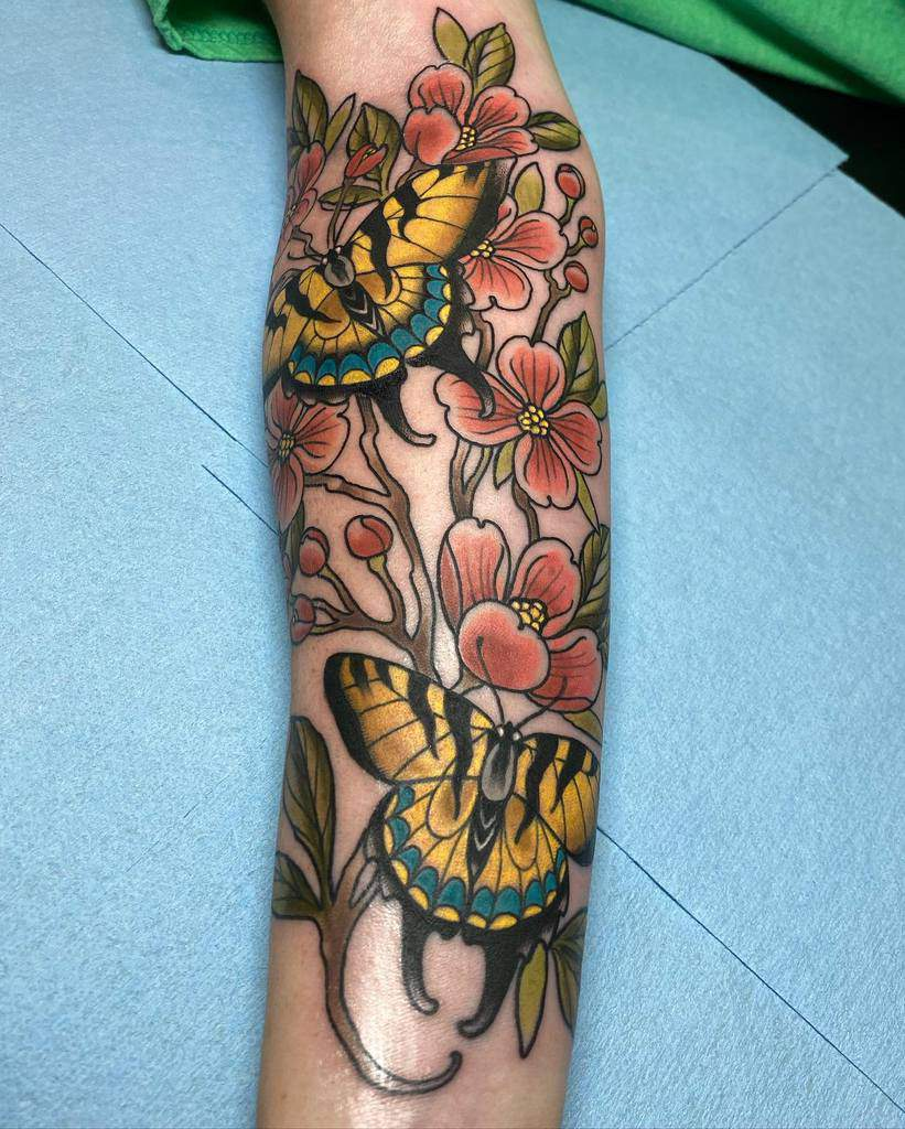 Dogwood Flower Colored Tattoo kyle_carpino_tattoos