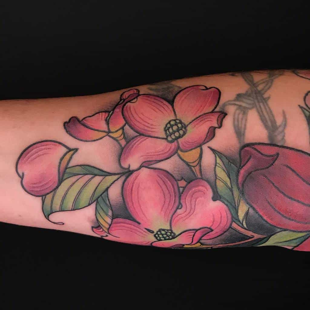 Dogwood Flower Colored Tattoo oodles_of_tattoodles