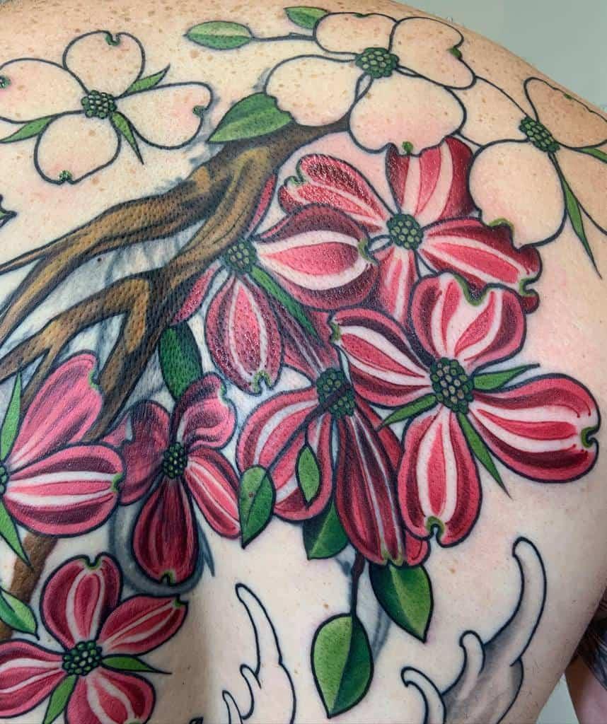 Dogwood Flower Colored Tattoo tattoosbycourt