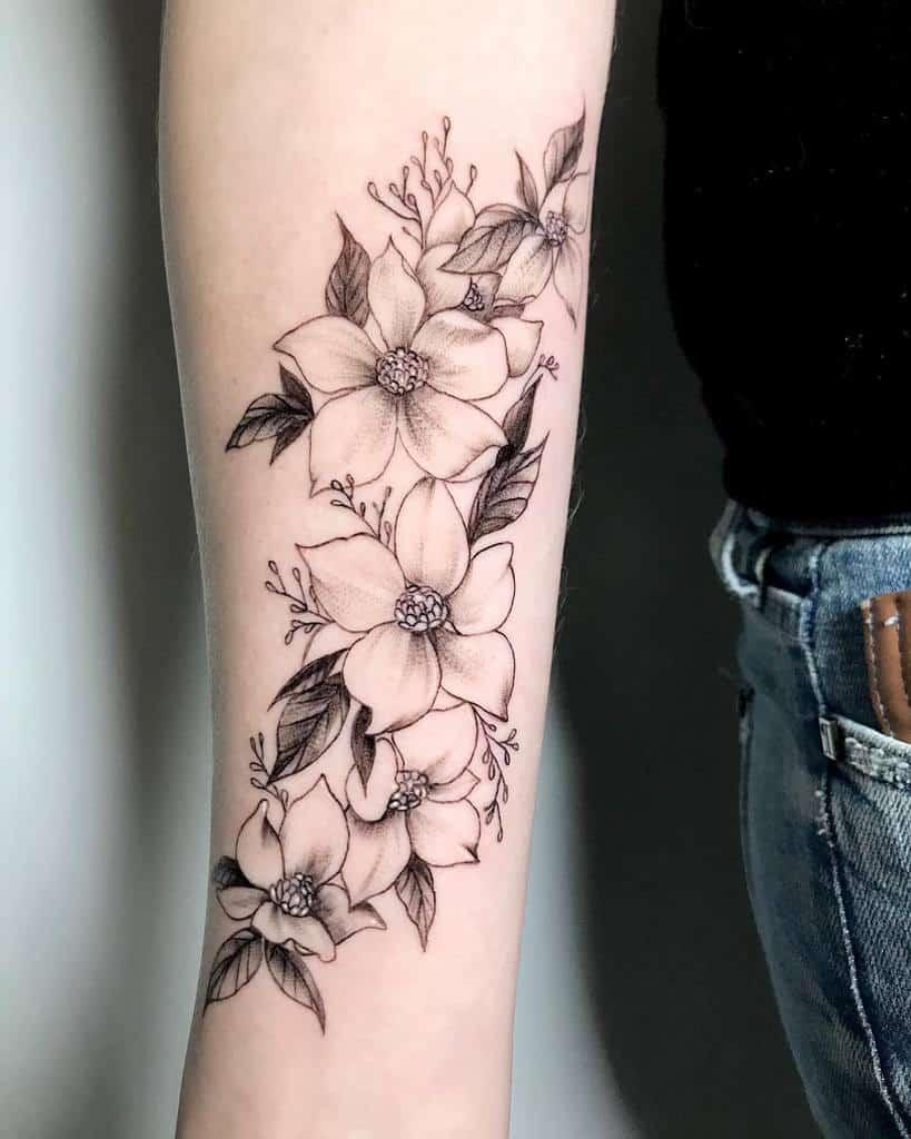 Dogwood Flower Forearm Tattoo kao.ink