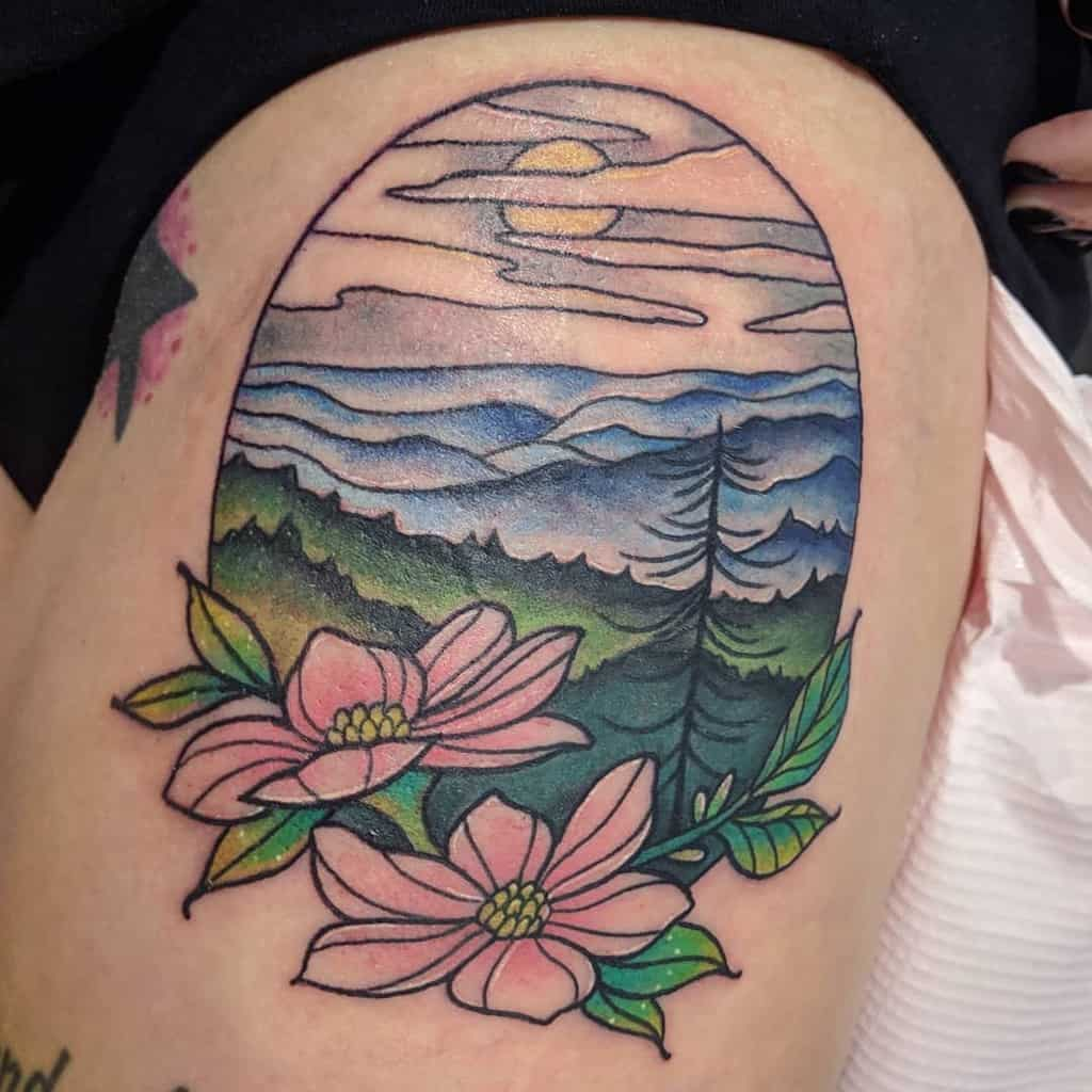 Dogwood Flower Leg Tattoo corintattoos
