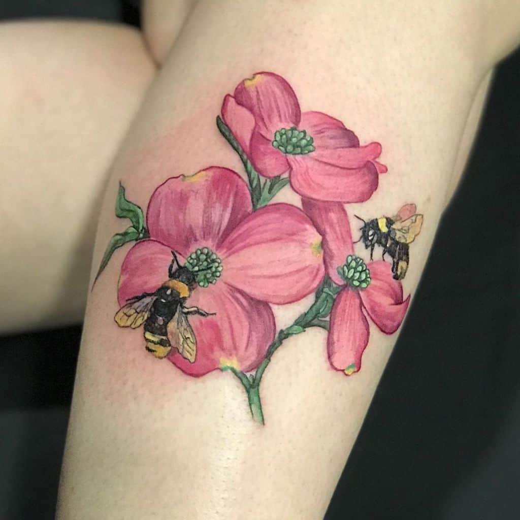 Dogwood Flower Leg Tattoo stephanie_washburn