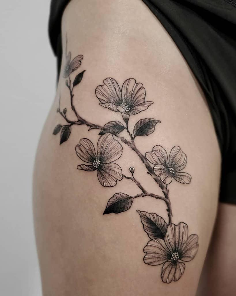 Dogwood Flower Leg Tattoo tattoosbythu